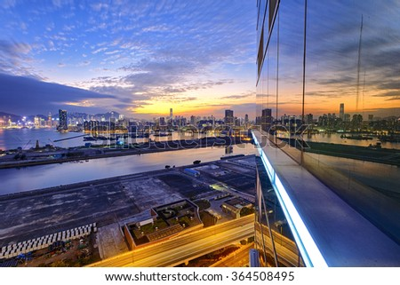Hong Kong kowloon city sunset - stock photo