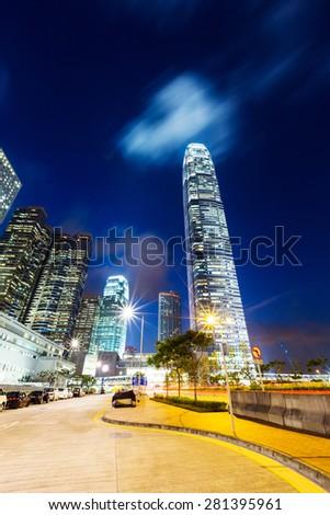 Hong Kong landscape at night - stock photo