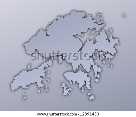 Hong Kong Map Filled With Metallic Gradient. Mercator Projection.