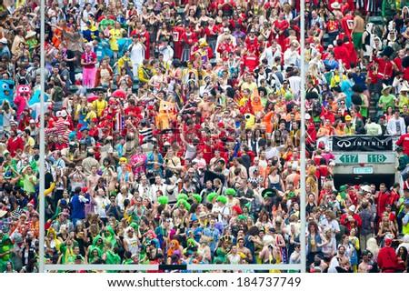 Hong Kong, 29 Mar 14 - Fans crowd in the stadium during the Hong Kong Sevens 2014 at Hong Kong Stadium on 29 March 2014 in Hong Kong  - stock photo