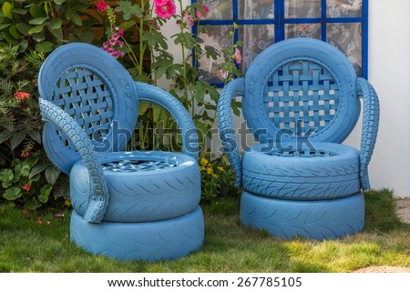 HONG KONG - MAR 20, 2014: Garden chairs made from recycled materials displayed in the Hong Kong Flower Show. It is a major event organized to promote horticulture and the awareness of greening.