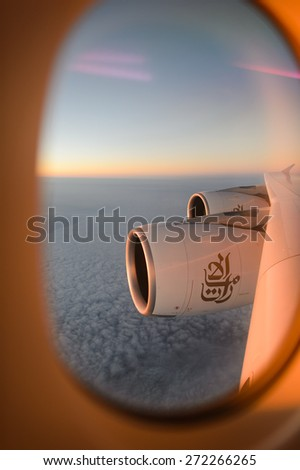 HONG KONG - MARCH 09, 2015: aerial view from Emirates Airbus A380 aircraft. Emirates handles major part of passenger traffic and aircraft movements at the airport. - stock photo