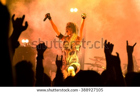 HONG KONG - MARCH 12,2015: Arch Enemy show, Vocalist Alissa White-Gluz performed on stage - stock photo