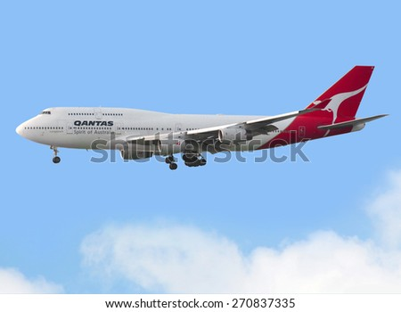 Hong Kong - March 19: Qantas Airways boeing 747 arrive in Hong Kong International Airport March 19,2014 in Hong Kong. Qantas Airways Limited is the flag carrier airline of Australia.