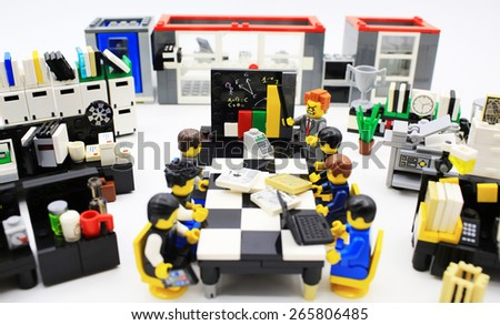 lego office. hong kongmarch 22 studio shot of lego people in office combine from