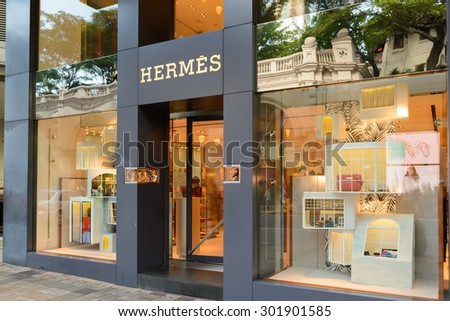 HONG KONG - MAY 7: Hermes Store in Hong Kong on May 7, 2014. Hermes is famous luxury brand existing since 1837. It had 2.4 billion EUR revenue in 2010.