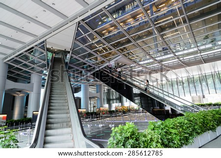 HONG KONG - MAY 25: HSBC building in downtown Hong Kong on May 25th 2015. HSBC is one of the most famous international banks around the world. - stock photo