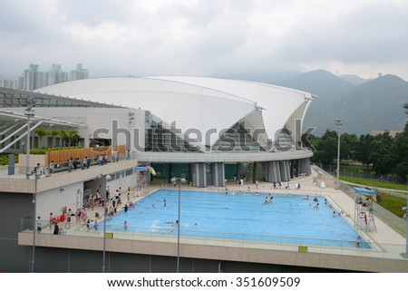 HONG KONG - MAY 11, 2012: outdoor pool in Hong Kong. Hong Kong, is an autonomous territory on the southern coast of China at the Pearl River Estuary and the South China Sea