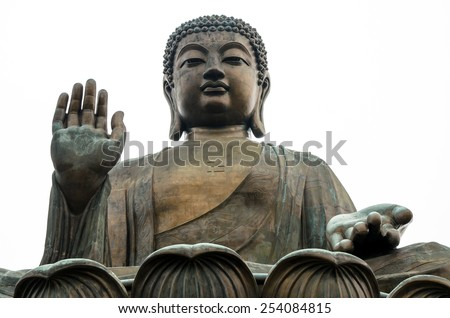 HONG KONG - MAY 01: Tian Tan Buddha on Lantau Island in Hong Kong on May 01, 2013. It is 34 meters tall and is a major centre of Buddhism in Hong Kong, it is also a popular tourist attraction - stock photo