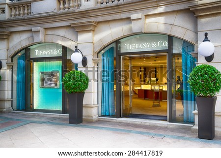 HONG KONG - MAY 5: Tiffany & Co store on May 5, 2015 in Hong Kong. The jewelry company founded in 1837 is among most recognized luxury brands in the world. - stock photo