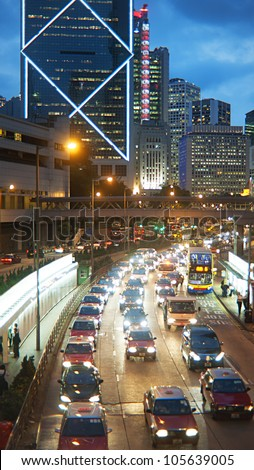 HONG KONG - MAY 21: Traffic jam on May 21,2012 in Hong Kong. With a land mass of 1,104 km and population of 7 million people, Hong Kong is one of the most densely populated areas in the world - stock photo