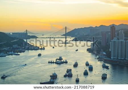 Hong Kong metropolitan downtown at sunset - stock photo