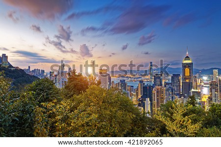 Hong Kong Modern City Sunset  - stock photo