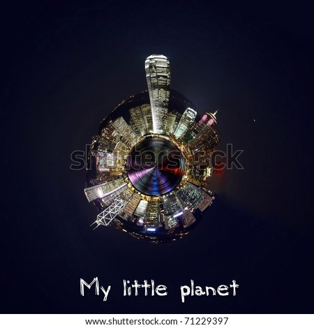 Hong Kong night view in a small planet concept - stock photo