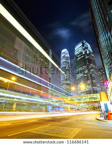 Hong Kong night view with car light - stock photo