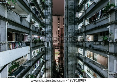 HONG KONG - OCT 10: Traditional old private housing building in Mongkok, Hong Kong on October 10, 2016. It is one of the busiest district in Hong Kong.