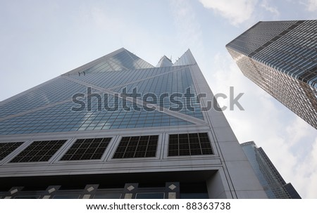 "HONG KONG - OCTOBER 3: Bank of China tower on October 3, 2010 in Hong Kong. 367 meters ""BOC"" one of the tallest in Hong Kong and seen as violation of feng shui principles to locals. - stock photo"