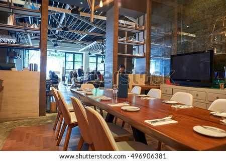 HONG KONG - OCTOBER 25, 2015: inside Kinsale restaurant. Kinsale is a restaurant located in Hong Kong's Kennedy Town.
