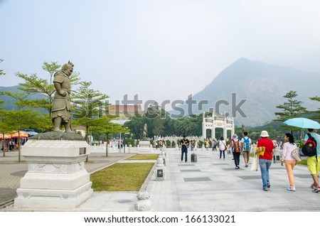HONG KONG, OCTOBER 21, Po Lin Monastery, where Big Buddha is located, is a Buddhist monastery, located on Ngong Ping Plateau, on Lantau Island, Hong Kong on 21 October 2013.