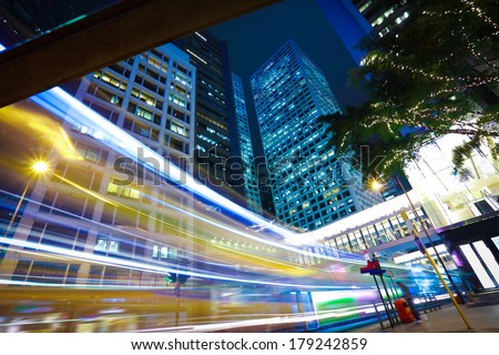 Hong Kong of highway with heavy traffic at  station night