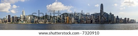 Hong Kong panorama of city on a beautiful blue sky day. Victoria Harbour from Kowloon