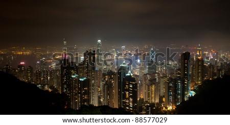Hong Kong panoramic view from Victoria peak - stock photo