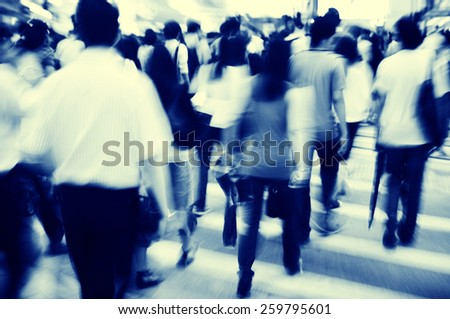 Hong Kong People Commuters City Walking Pedestrian Concept - stock photo