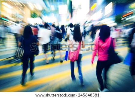 Hong Kong People Commuters Road Crossing Pedestrian Concept