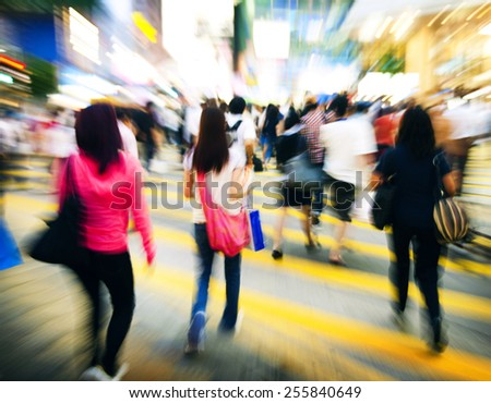 Hong Kong People Commuters Road Crossing Pedestrian Concept - stock photo
