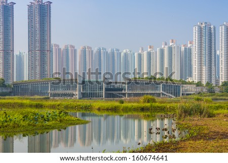 Hong Kong residential high rise cityscape viewed from Wetlands Park.