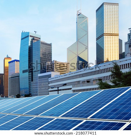 Hong Kong's modern architecture and solar panels - stock photo