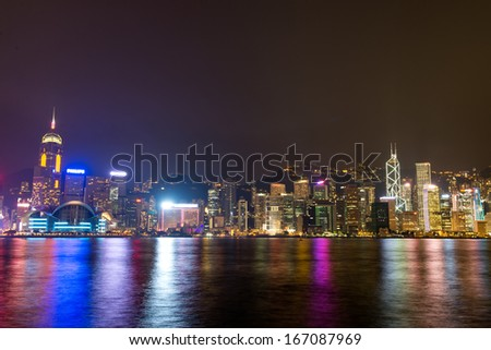 HONG KONG - SEPTEMBER 02: Hong Kong skyline on September 02, 2013. With a land mass of 1,104 km and population of 7 million people, Hong Kong is one of the most densely populated areas in the world