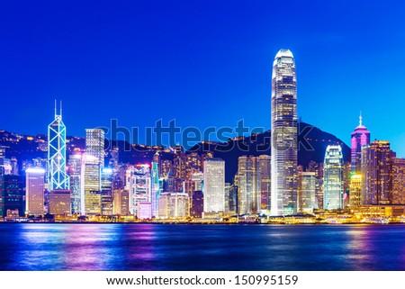 Hong Kong skyline at evening - stock photo