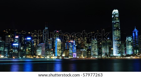 Hong Kong skyline during night with spectacular lights - stock photo