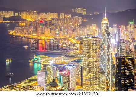 Hong Kong Skyline from Victoria Peak at dusk - stock photo