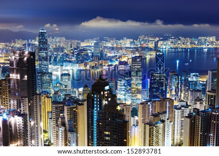 Hong Kong skyline from Victoria Peak at mid night - stock photo