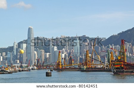 Hong Kong Skyline in the afternoon. - stock photo