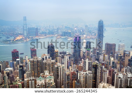 Hong Kong skyline view from the Victoria Peak.