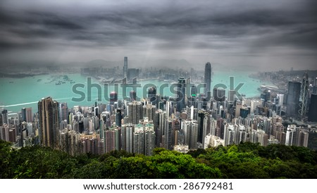 Hong kong skyline view from the victoria peak