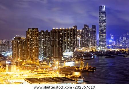 Hong Kong skylines at night - stock photo