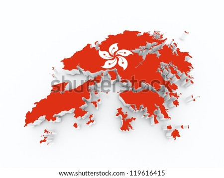 hong kong state flag on 3d map - stock photo
