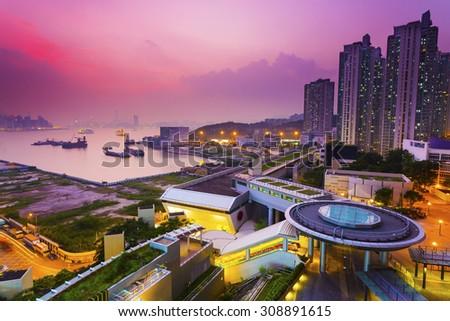 Hong Kong sunset at downtown - stock photo