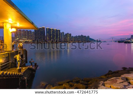 Hong Kong sunset at Tsuen Wan