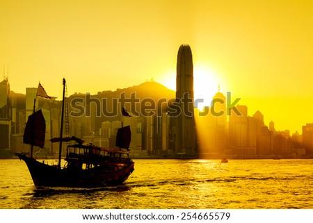 Hong Kong sunset at Victoria Harbor  - stock photo