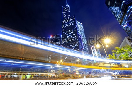 hong kong traffic at night - stock photo