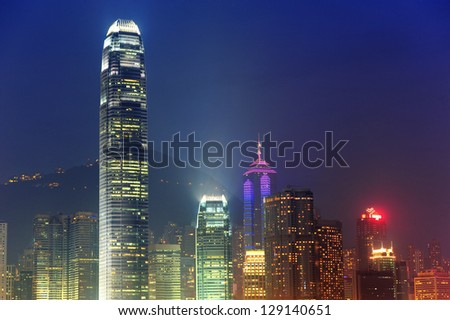 Hong Kong urban skyscrapers and city skyline at night