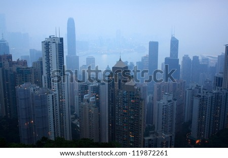 Hong Kong Victoria Harbor at night view from the peak. - stock photo