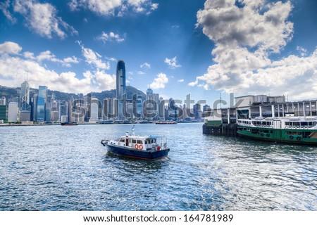 Hong Kong Victoria Harbor HDR - stock photo