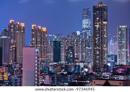 Hong Kong with crowded buildings at night