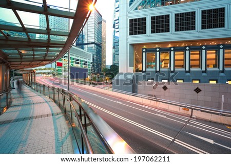 HongKong at city road light trails of streetscape buildings backgrounds